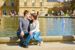 Young couple in the Luxembourg gardens Stock Photo