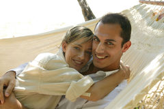 Young couple lying in hammock Royalty Free Stock Photo