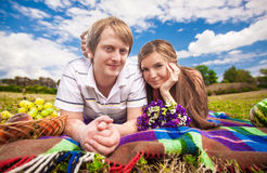 Young couple lying on mat Royalty Free Stock Image
