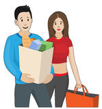 Young couple made purchases. Young man and woman after shopping. Vector Stock Image