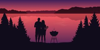 Young couple makes a barbeque in the nature landscape by the lake at sunset. Vector illustration EPS10 stock illustration