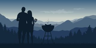 Young couple makes a barbeque in the nature landscape with mountain view. Vector illustration EPS10 stock illustration