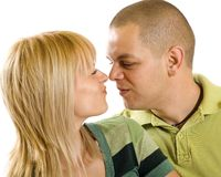 Young couple making faces to each other royalty free stock image