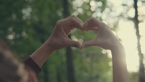 Young couple making heart shape with hands at sunset on at sunset at park stock video