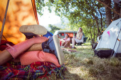 Young couple making out in tent Royalty Free Stock Photos