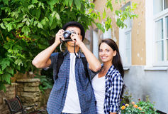 Young couple making photos as tourists Royalty Free Stock Photo