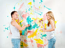 Young couple making repairs Stock Photography