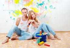 Young couple making repairs Stock Images