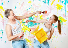 Young couple making repairs Royalty Free Stock Images