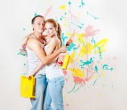 Young couple making repairs Royalty Free Stock Image