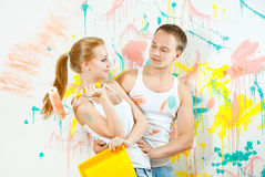 Young couple making repairs Stock Photos