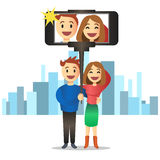 Young couple making self portrait using selfie stick. Vector. Royalty Free Stock Image