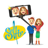 Young couple making self portrait using selfie stick. Vector. Royalty Free Stock Images