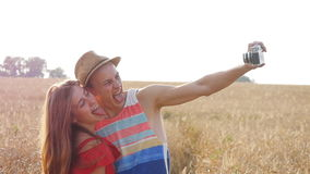 Young couple making selfie outdoors stock footage