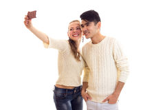 Young couple making selfie royalty free stock photo
