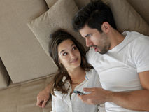 Young couple making selfie together at home Stock Photography
