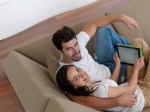 Young couple making selfie together at home Stock Images