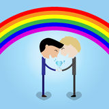 Young couple man hold wedding ring rainbow background LGBT conce Royalty Free Stock Image