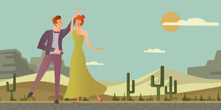 Young couple. Man and woman dancing ballroom dance in desert landscape. Vector illustration. Stock Images