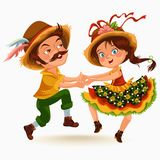 Young couple man woman dancing salsa on festivals celebrated in Portugal Festa de Sao Joao, girl straw hat traditional. Fiesta dance, holiday party dancer Royalty Free Stock Photography