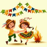 Young couple man woman dancing salsa on festivals celebrated in Portugal Festa de Sao Joao, girl straw hat traditional. Fiesta dance, holiday party dancer Royalty Free Stock Image