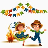 Young couple man woman dancing salsa on festivals celebrated in Portugal Festa de Sao Joao, girl straw hat traditional. Fiesta dance, holiday party dancer Royalty Free Stock Photos