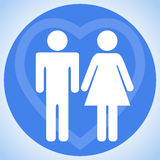Young couple. Man and woman. Family. Icon. Icon family. White silhouettes of men and women on a blue circle Stock Image