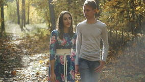 Young Couple Man and Woman Hugging in Love Romantic Outdoor with forest nature on background Fashion trendy style. Young Couple Man and Woman Hugging in Love stock video
