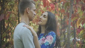 Young Couple Man and Woman Hugging in Love Romantic Outdoor with forest nature on background Fashion trendy style. Young Couple Man and Woman Hugging in Love stock footage