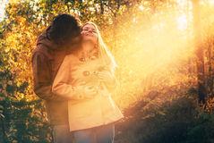 Young Couple Man and Woman Hugging in Love Romantic Outdoor Stock Photo