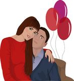 Young couple. A girl in the arms of a guy. A girl in love sits in the arms of a guy. Cozy and warm in his hands. The balls behind them vector illustration