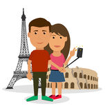Young couple man and woman are making travel self-portrait in fr Stock Images