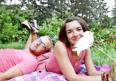 Young Couple Man and Woman Picnic Stock Images