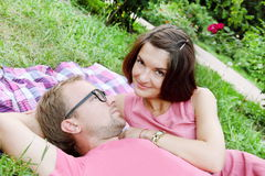 Young Couple Man and Woman On Picnic Stock Images