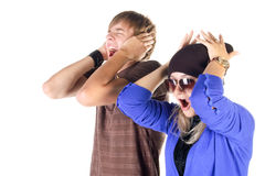 Young couple (man and woman) screaming Stock Image