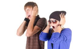 Young couple (man and woman) screaming. Stock Image