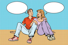 Young couple man and woman talking royalty free illustration