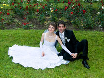 Young couple married. On a green meadow stock images