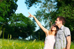 A young couple in the meadow. Young couple in meadow with hand in air, hugging and smiling. Copy space stock images