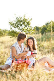 Young couple in meadow Stock Photos