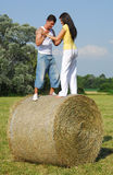 Young couple on the meadow Stock Photos