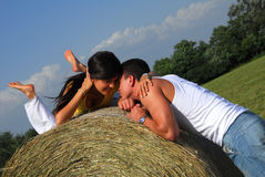 Young couple on the meadow Stock Images