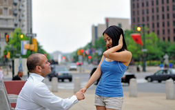 Young couple meet for the first time stock photo