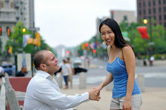 Young couple meet for the first time Stock Images