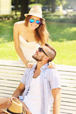 Young couple meeting in the park royalty free stock photos
