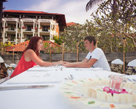 Young couple meeting at a restaurant Royalty Free Stock Photo