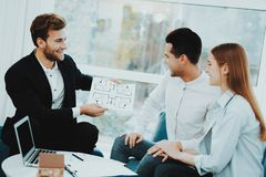 Young Couple Meeting With Rieltor. Bright Office. Young Couple. Meeting With Rieltor Concept. Bright Office. Making A Contract. Buying A Property. Panoramic royalty free stock image