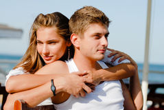 Young couple loving & kissing on the sea side Stock Photography