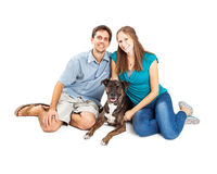 Young Couple With Mixed Breed Dog Royalty Free Stock Photography