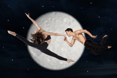Young couple of modern ballet dancers. Series of photos Stock Photo